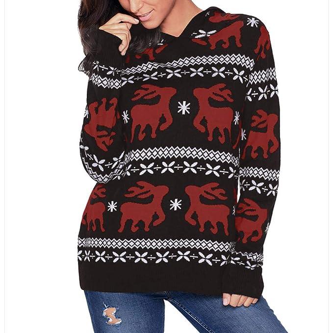 Logobeing Abrigo Invierno Mujer, Sudaderas de Navidad Mujer Chaqueta Jersey Suéter Cardigans Abrigos con Capucha de Impresión de Manga Larga Sudadera Blusa: ...
