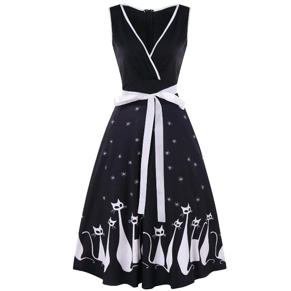 LUCA Retro Plus Size Women Sexy V-Neck Sleeveless Cat Print Dress Bowknot Waist Swing Hem Dresses
