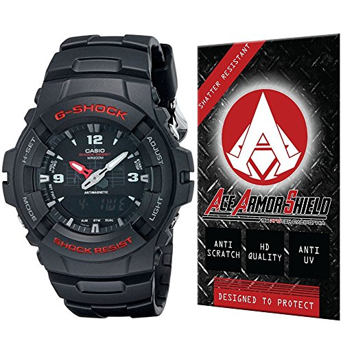 1bv Watch - Ace Armor Shield Shatter Resistant Screen Protector for the Casio Men's G100-1BV
