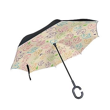 Mnsruu - Paraguas invertido de Doble Capa, diseño de Huellas de Dinosaurio, Plegable,