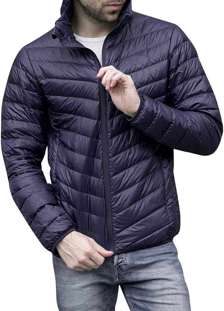 Chaquetas de Plumas con Capucha para Hombre Hooded Ultra Ligero Plumon Abrigo Slim Fit Cazadoras Invierno Outwear S Armada: Amazon.es: Ropa y accesorios