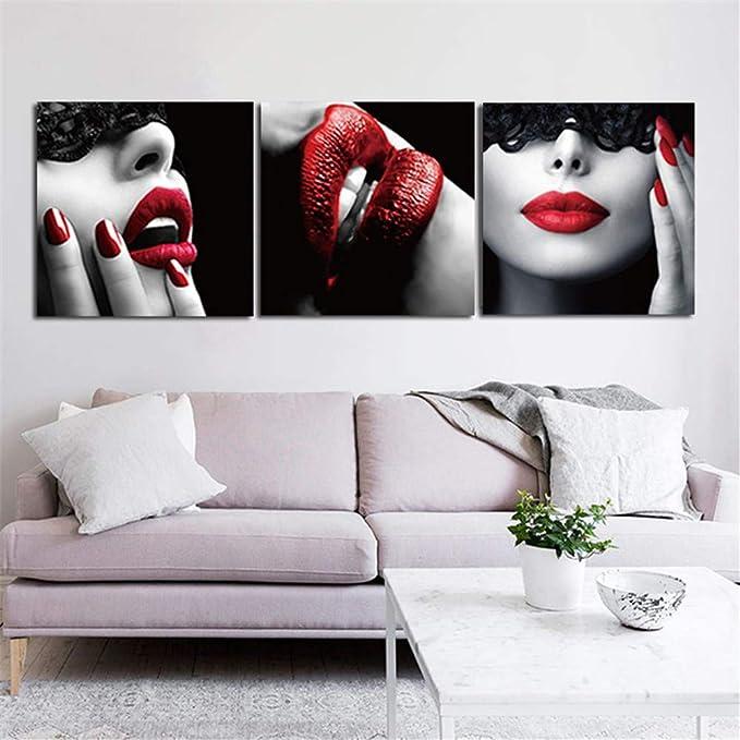 WSNDG Wulian Labios Rojos Lienzo Pintura decoración del hogar ...
