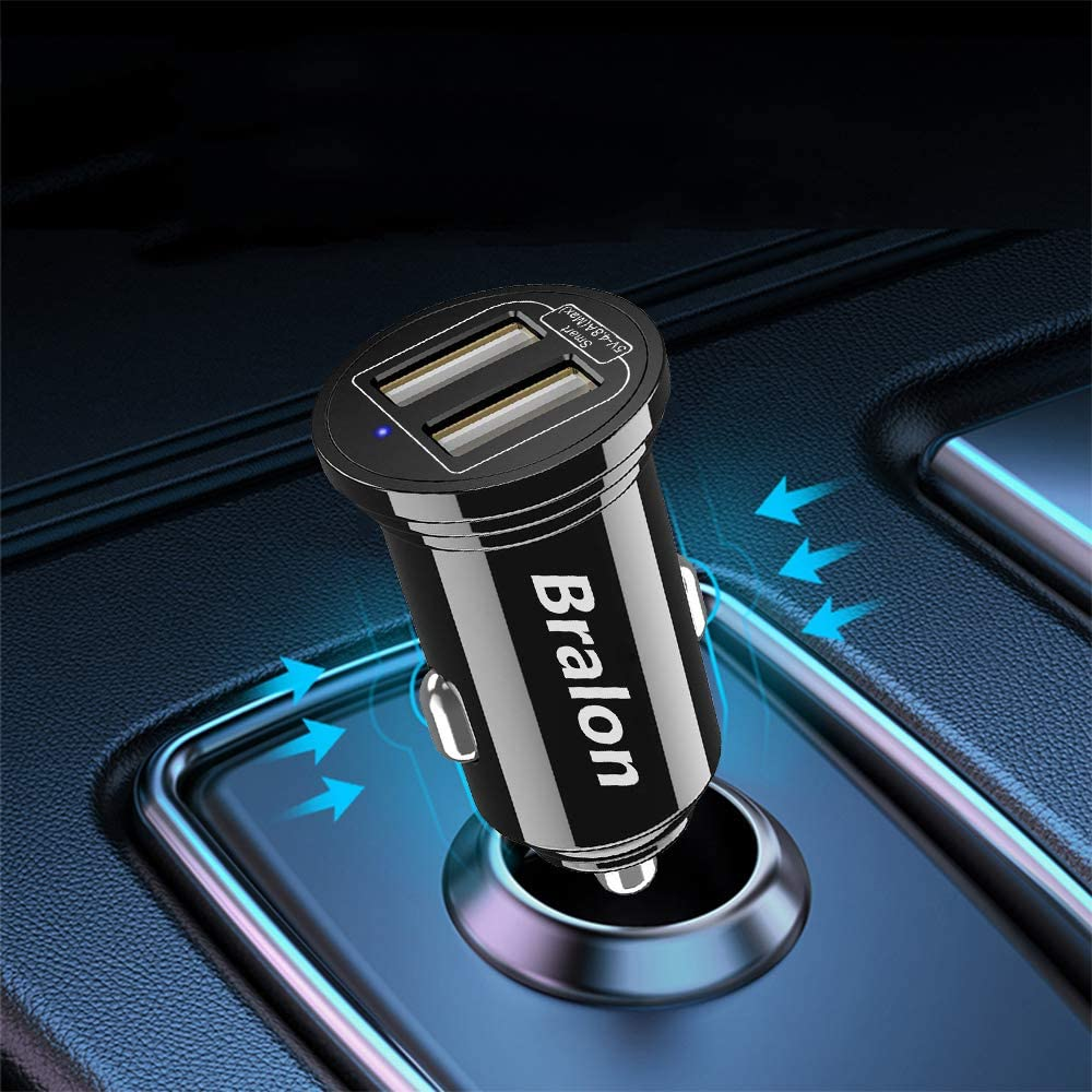 //XR//X//8//7//6 iPad Pro//Air 2//Mini //XS ,Bralon 24W Dual USB Car Charger Adapter,Fast Charge Compatible with iPhone 11//11 Pro Max USB Car Charger Galaxy Note 10 9 8 7 6,LG,Nexus and More 4-Pack Max