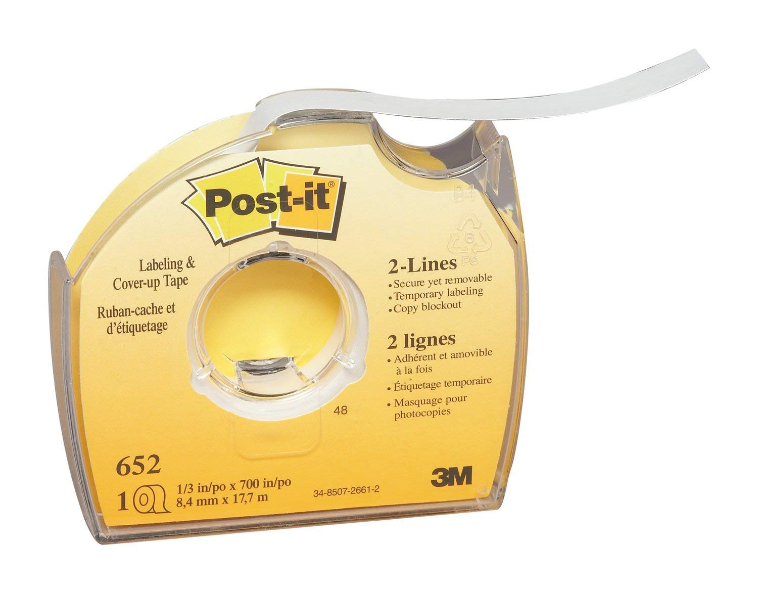 1//3 x 700 Roll Post-it 652 Labeling /& Cover-Up Tape Renewed Non-Refillable