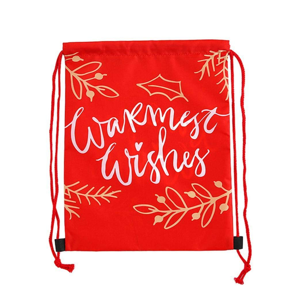 Voiks Christmas Drawstring Bags Santa String Backpack Cinch Sack Bags for Christmas Party Favors