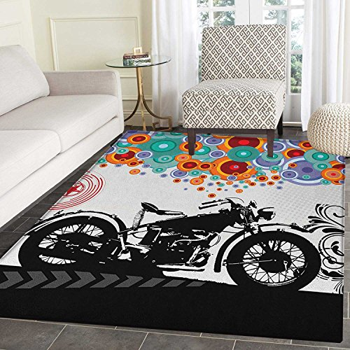 Manly Anti-Skid Area Rug Motorcycle and Abstract Circle Shapes Ornaments Urban Modern Lifestyle Party Theme Door Mat Increase 5'x6' Multicolor -