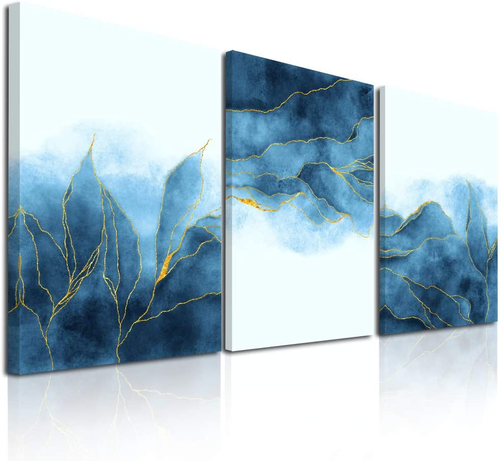 Abstract Canvas Wall Art For Living Room Bedroom Decoration Office Wall Painting,Bathroom Wall Decor Gray Blue Canvas Pictures Modern Home Decoration Wall Artwork,Fashion Wall Art 16x12 Inch/ 3 Piece