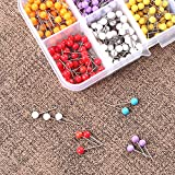 Push Pins, Map Pins, 600 PCS 1/8 Inch, Plastic Ball Head Pins, in reconfigurable Container for Bulletin Board, Fabric Marking, 10 Assorted Colors 1pack