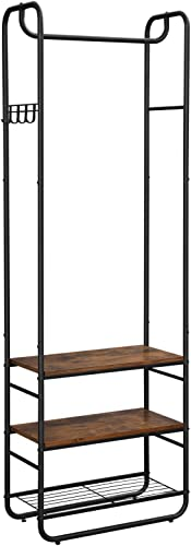 VASAGLE DAINTREE Hall Tree, Coat Rack and Stand with Shoe Shelves, Hallway, Bedroom, Industrial Design, Rustic Brown and Black UHSR81BX