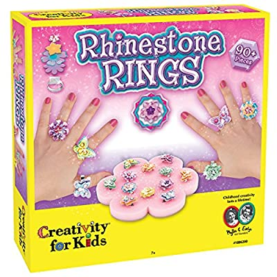Creativity for Kids Rhinestone Ring Making Kit - Makes 12 Flower and Butterfly Rings: Toys & Games