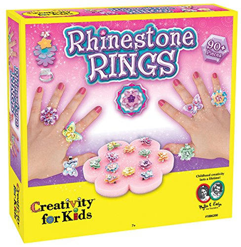 Creativity for Kids Rhinestone Ring Making Kit - Makes 12 Flower and Butterfly Rings -