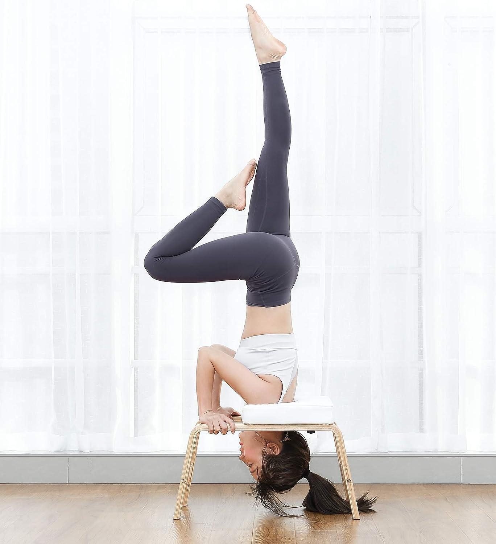 Homfa Silla de Inversi/ón de Yoga Banco Soporte para la Cabeza Taburete de Yoga Blanco 62.5x42x39.5cm