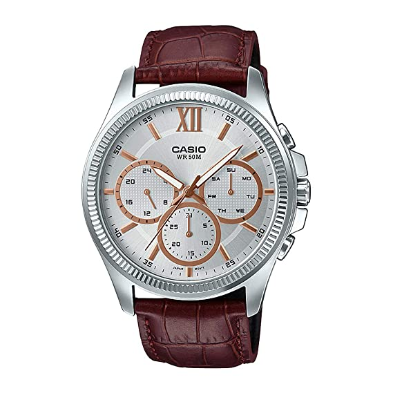 Amazon.com: Casio MTP-E315L-7AV Mens Leather Band Multi-Hands Silver Dial Analog Watch: Watches