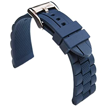 b8201a0853d Image Unavailable. Image not available for. Color  TIMEBEST 20mm Blue  Silicone Rubber Watch Strap Band for Diver Sport Watch Replacement