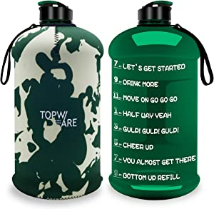 Dishwasher Usable 2.2L Big Sports Water Bottle with Non-slip Sleeve 75oz Half Gallon Water Jug with Motivational Time Marker & Reusable Cover Portable Handle Large Capacity Canteen BPA Free Leak-Proof