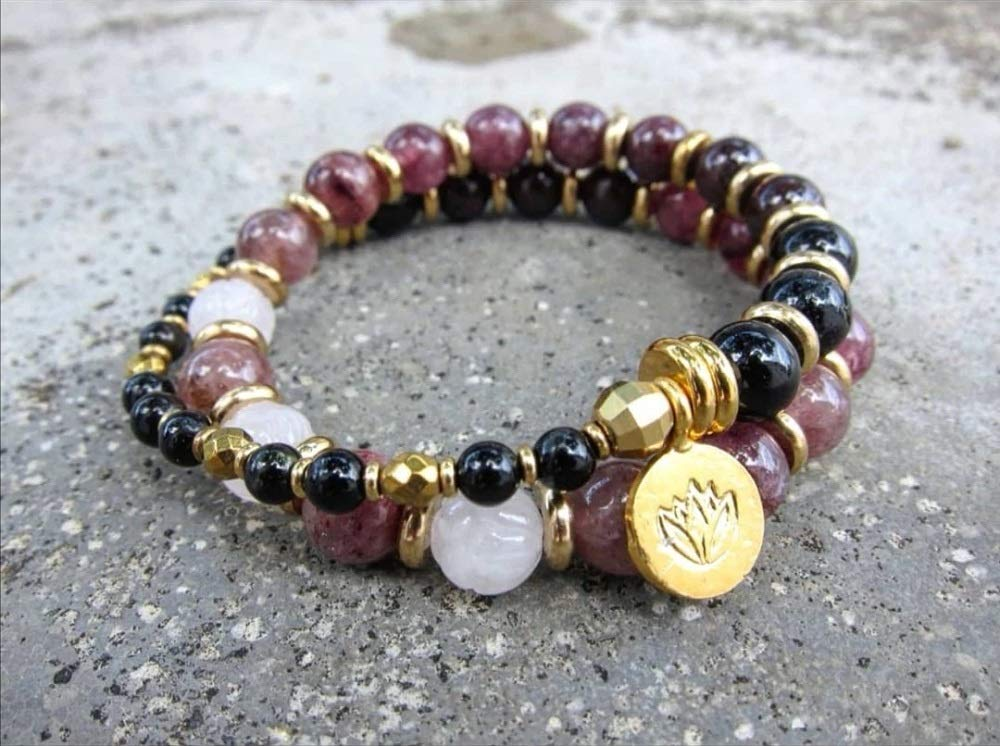 Black Tourmaline Mala Bracelet with Golden Blue Tiger Eye and Rutilated Quartz for Grounding and Peace of Mind