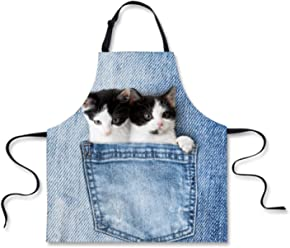 1a2092145f4b Nopersonality Cute Couple Kitten Cat Patterns Kitchen Bib Apron with  Adjustable Neck for Cooking Baking Gardening
