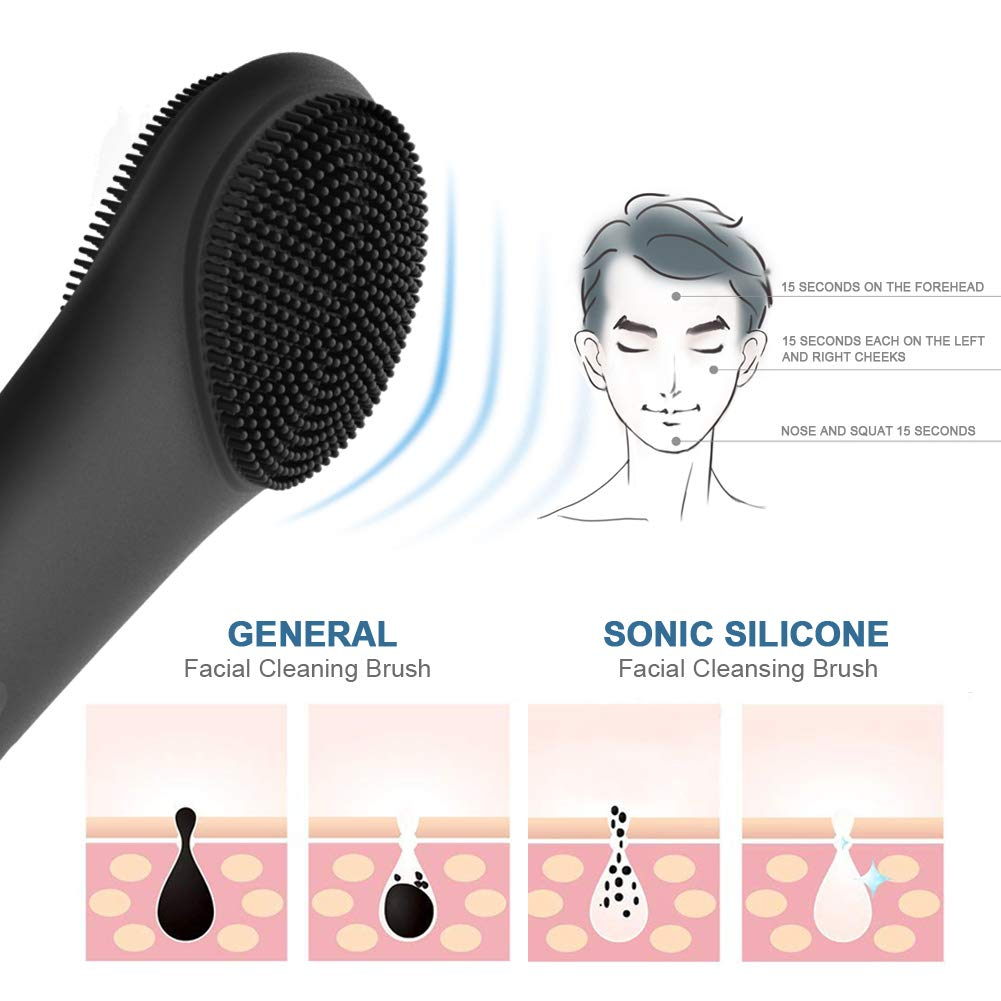 Silicone Face Brush, Sonic Face Scrubber Massager with 10 Skincare Modes - Black
