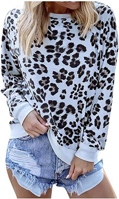 Womens Ladies New Brown Animal Leopard Print Frill Long Sleeve Top//Blouse UK8-18