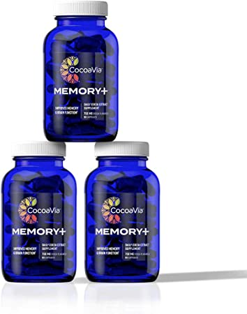 CocoaVia Memory+ Brain Supplement, 750 mg of Cocoa Flavanols   Brain Support for Improved Memory and Brain Function   90 Day Supply, Triple Pack
