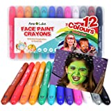 XL Face Paint Crayons Kit, 12 Washable Non-Toxic Chunky Fun Bright Colour Body Art Painting Sticks. Easy to Use, Water-Based, Long Lasting, Twistable Design. Ideal for Kids, Christmas, Birthdays, Parties