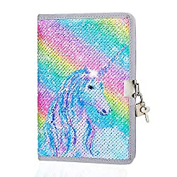 Rainbow Unicorn In Sequin Girls Diary with Lock