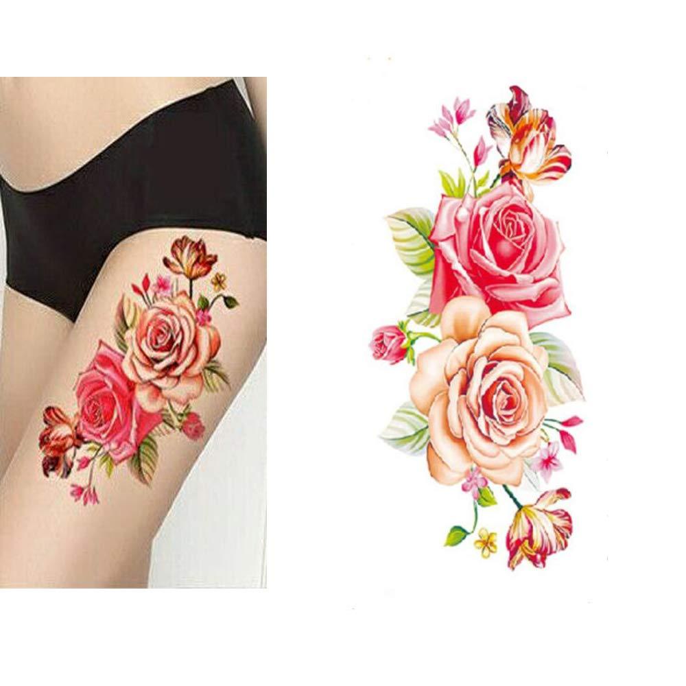 sexy Pink Rose Body Art Temporary Tattoos Waterproof Sticker 4 Sheets