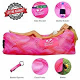 Inflatable Lounger Chair – Sunny Bunny Air Sofa Couch with Carry Bag, Bottle Opener & Stake – Hangout Bag Ideal for Indoor and Outdoor – Lazy Hammock Lounge for Camping, Hiking, Beach (Pink)