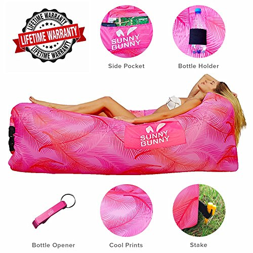 Lounge Bottle - Inflatable Lounger Chair - Sunny Bunny Air Sofa Couch with Carry Bag, Bottle Opener & Stake – Hangout Bag Ideal for Indoor and Outdoor – Lazy Hammock Lounge for Camping, Hiking, Beach (Pink)