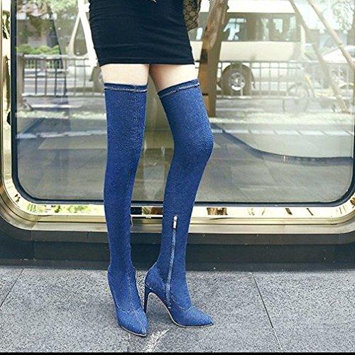 Btrada Dames Sexy Over De Knie Dij Hoge Laarzen Cowboy Denim Puntige Hak Elastische Stretch Laarzen Donkerblauw
