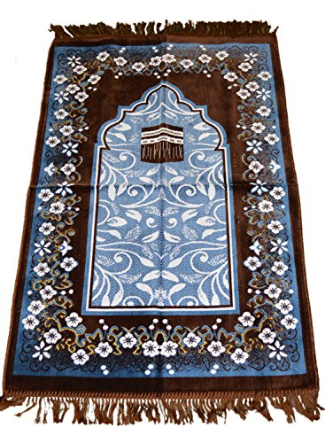 Islamic Prayer Rugs Made in Turkey with Fine Velvet Superior Quality (Brown) by Prayer Rug