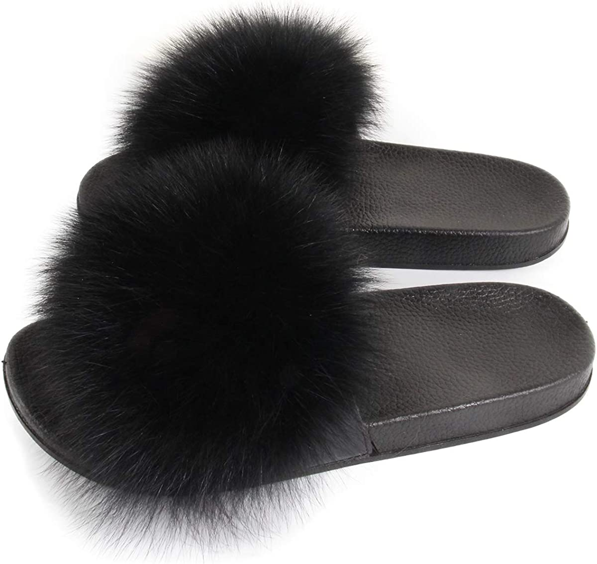 Women Luxury Real Fox Fur Slippers Slides Indoor Outdoor Flat Soles Soft Spring Summer Shoes Woman Flip Flops