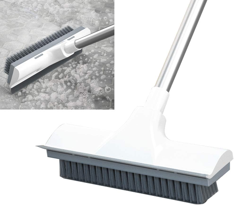 "Stiff Bristle Floor Scrub Brush for Cleaning Bathroom, Tile, Bathtub Deck and Patio, with Adjustable Stainless Steel Handle 20"" to 48.8"""