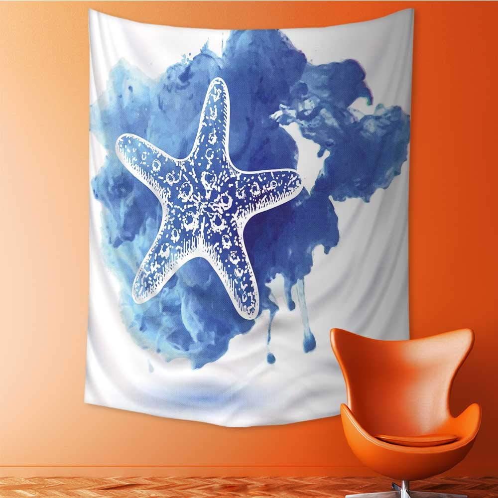 Auraisehome Vertical Version Tapestry Nautical Starfish Figure On A Watercolor Paintbrush WatercolorSplash Marine Design Blue for Hotel Throw, Bed, Tapestry, or Yoga Blanket 60W x 91L INCH