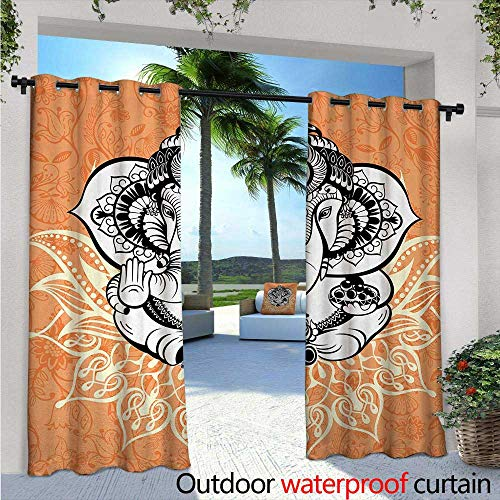 (Bohemian Balcony Curtains W96 x L84 Pop Art Inspired Legendary Divine Asian Elephant Destroyer of Evil Belief Theme Outdoor Patio Curtains Waterproof with Grommets Orange Yellow)