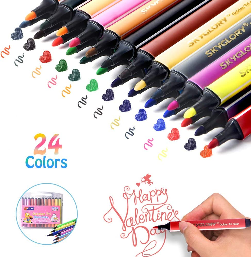 Painting 24 Colors Watercolor Pen Fine Tip Marker Pens Set for Sketching Drawing Fine Tip Markers Art Markers Pens 24 Colors, Style-2