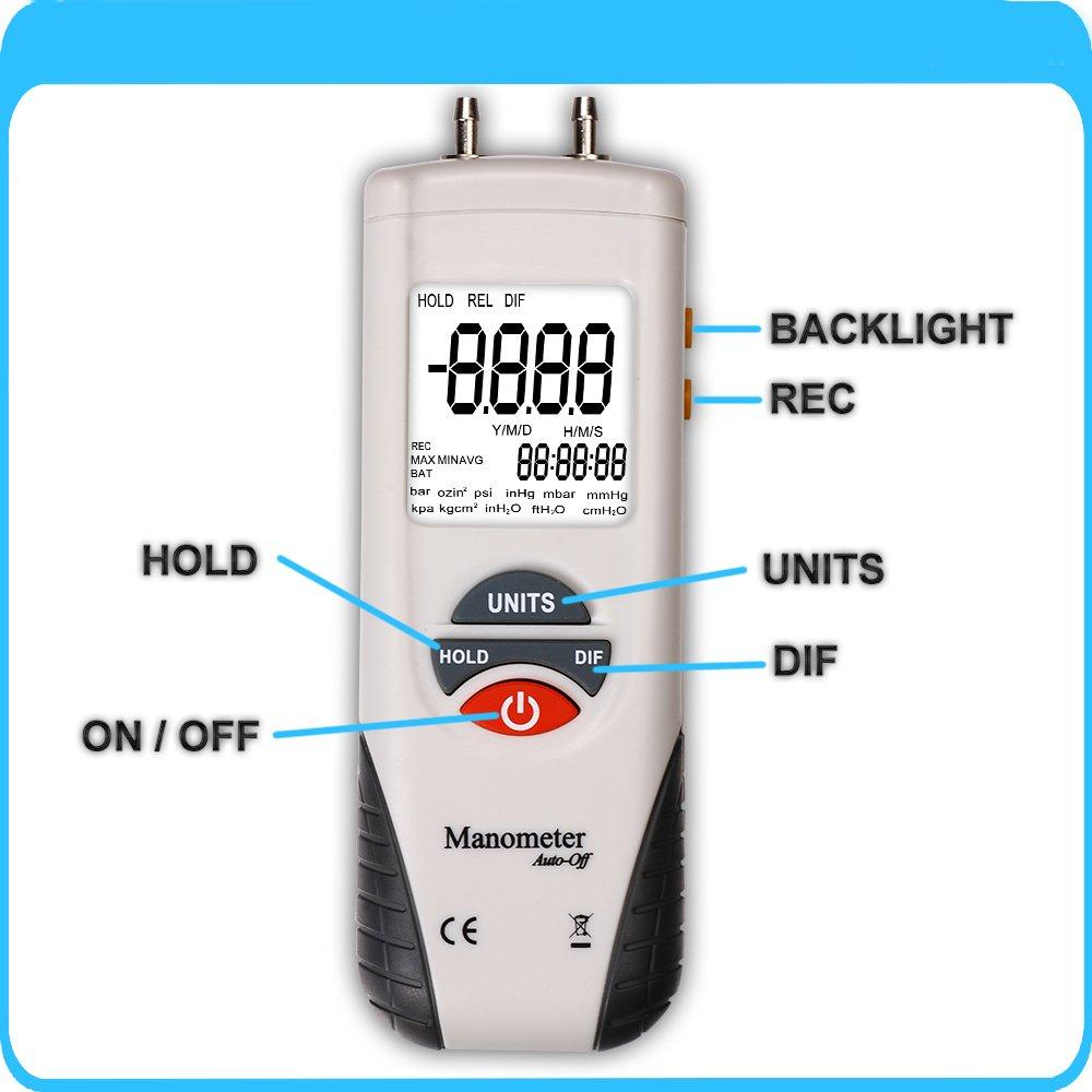 differential manometer. manometer, risepro digital air pressure meter and differential gauge hvac gas tester: amazon.com: industrial \u0026 scientific manometer