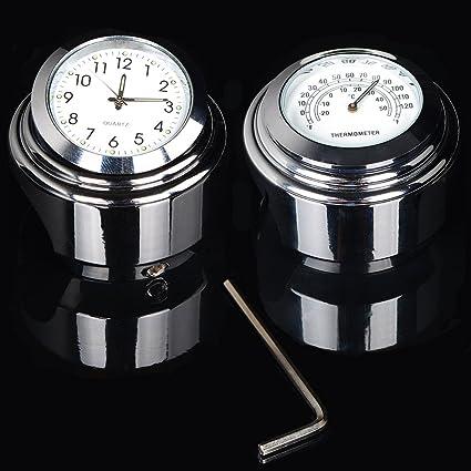 Tengchang 7//8 1 Handlebar Chrome Dial Clock Temp Thermometer Fits For Harley Crusier Custom