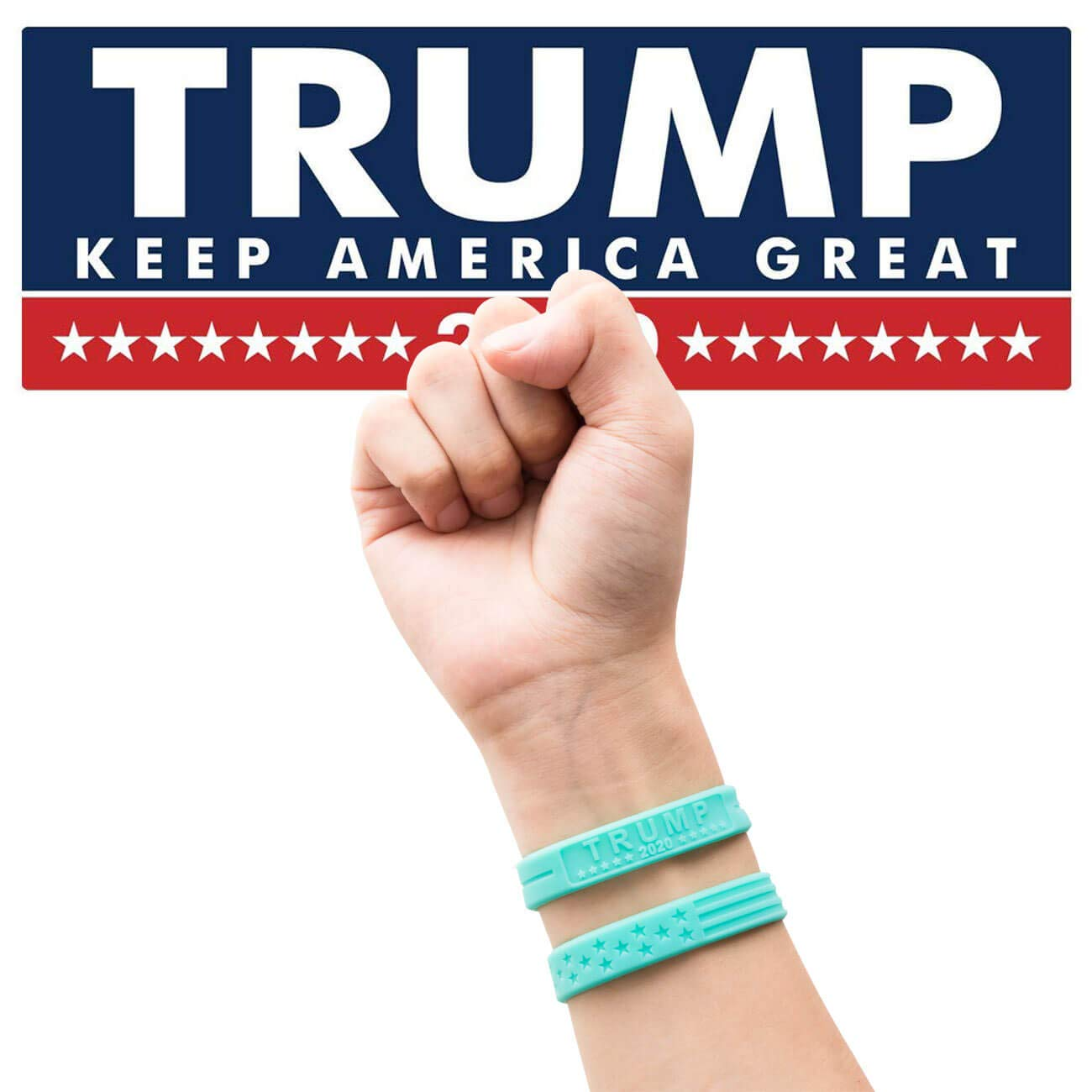 Rubber Motivational Wristbands Sainstone Trump Keep America Great with American Flag for President 2020 Silicone Bracelets with Durable Debossed Text Adults Gifts for Teens Men Women