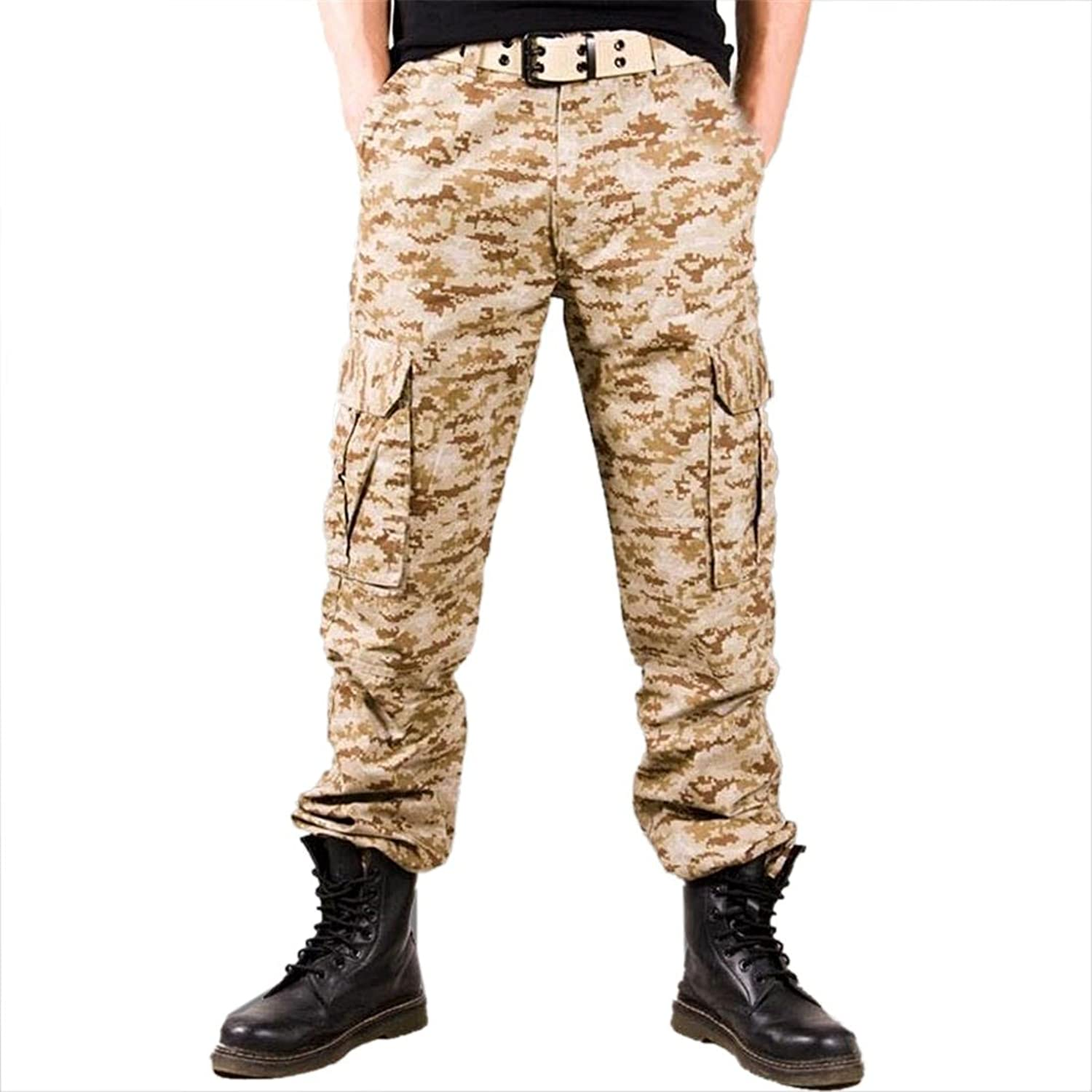 Men High Grade Fabric Cotton Pockets Outdoor Camouflage Pants Overalls Trousers