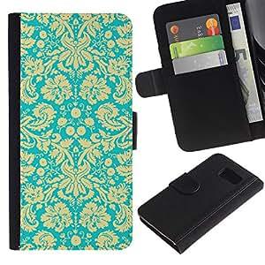 KLONGSHOP / Tirón de la caja Cartera de cuero con ranuras para tarjetas - Royal Golden Wallpaper Vintage Retro Pattern - Samsung Galaxy S6 SM-G920