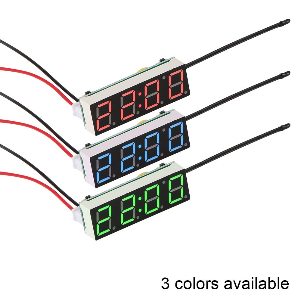 TiooDre Coche Reloj eléctrico Temporizador Digital LED Temperatura Reloj Termómetro Voltímetro Pantalla LED Reloj Digital Luz Azul (Blue): Amazon.es: Coche ...