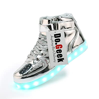 DoGeek Unisex Light up Shoes Amazon For Adult 7 Colors Led Shoes High Top USB Flashing Sneakers B01MRYI6DI