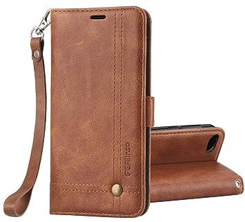 Ferilinso Funda Xiaomi Redmi 6A, Carcasa Cuero Retro Elegante con ID Tarjeta de Crédito Tragamonedas Soporte de Flip Cover Estuche de Cierre magnético ...