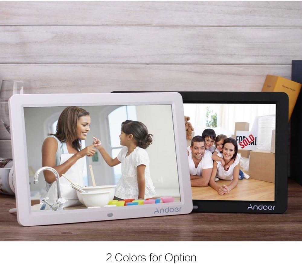 Andoer 12 zoll HD LED Digitaler Bilderrahmen breit Bildschirm hohe Aufl/ösung 1280 800 mit Fernbedienung LED Kalender Uhr MP3 MP4 Movie Player Gute Wahl zum Weihnachtsgeschenk
