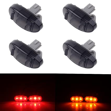 HERCOO Smoke Dually Bed Side Fender Marker LED Lights Aftermarket  Replacement Compatible with 2011-2016 Ford F350 Super Duty(Red & Amber LED)