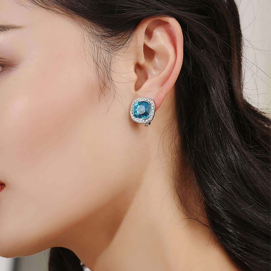 Clip-on Earrings For Women And Girls Swarovski Elements Blue Crystal Ear Clip