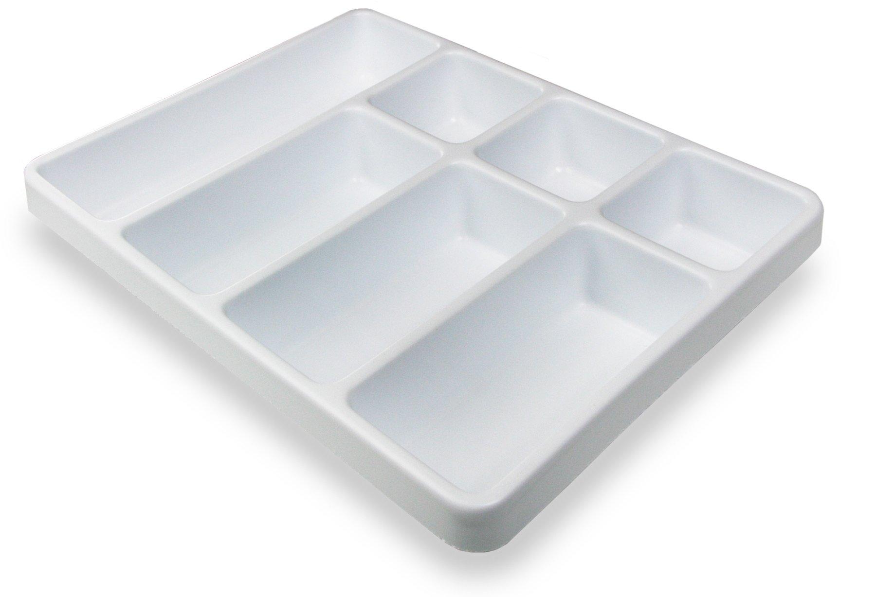 TrippNT 50056 White Polystyrene Plastic Big Drawer Organizer, 7 Compartments, 16.75'' Width x 2.38'' Height x 12.9'' Depth