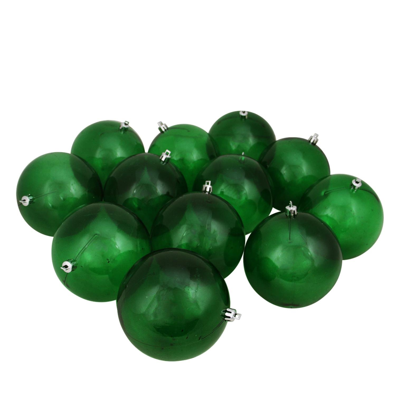 Northlight 12ct Green Transparent Shatterproof Christmas Ball Ornaments 4'' (100mm)