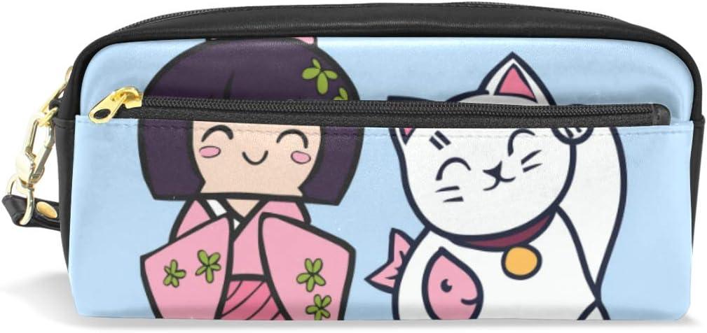 Estuche para lápices, diseño de gato de peluche japonés con kimono para niñas, con compartimentos para la escuela, estudiante, bolsa de cosméticos de cuero: Amazon.es: Oficina y papelería